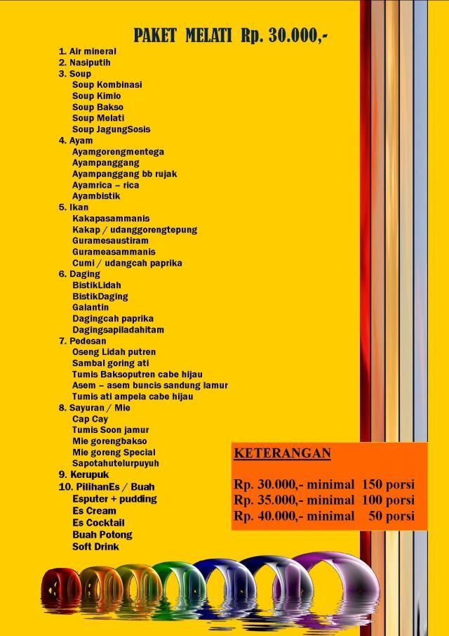 Harga dan menu Prasmanan, Catering prasmanan, Catering Pernikahan, HP: 0888 641 4747, H. Supardan Assidqie